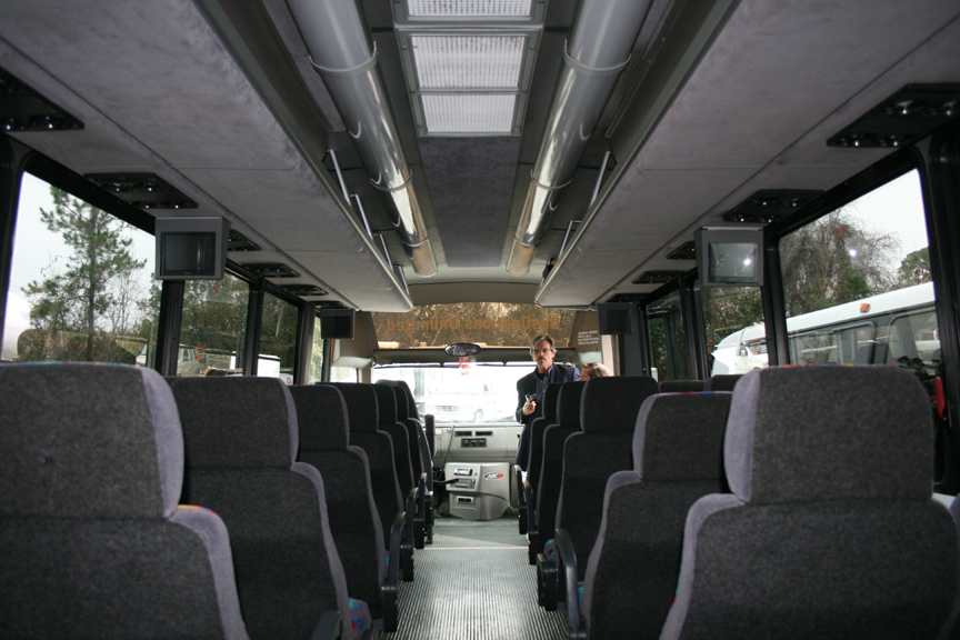 Interior of one of Destinations Unlimited Tours' mini buses